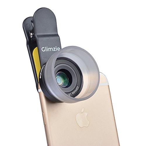 Glimzie Makro Objektiv Linse für Handy und Tablets   Vorsatzline Aufsetzlinse   10x Vergrößerung   Passend für Iphone 5 / 6 / 6 Plus / 7 Samsung Galaxy S6 / S7 / Tablet und vielen mehr   In Praktischer Aufbewahrungstasche