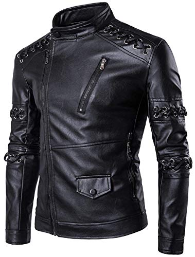 Weimilon motociclista giacca uomo giacca giubbotto uomo moderna il moto libero streetwear tempo in giacche giacche eco-pelle blouson (color : 2-schwarz, size : l)