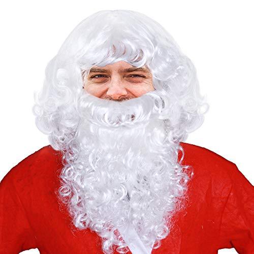 Set Deluxe Zauberer Kostüm - VORCOOL Deluxe Santa Bart und Perücke Set Weiße Santa Kostüm Zauberer Perücke und Bart Set für Weihnachtsfeier Cosplay
