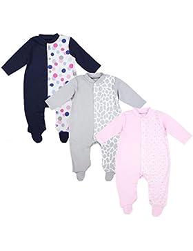 TupTam Unisex Baby Schlafoverall mit Fuß 3er Pack