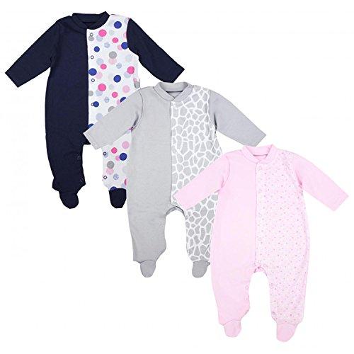 TupTam Unisex Baby Schlafoverall mit Fuß 3er Pack, Farbe: Mädchen 2, Größe: 74 (Pyjama Set Baumwolle Gestreiften)