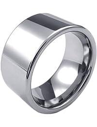 KONOV Schmuck Herren-Ring, Wolframcarbid Wolfram, Klassiker 12mm, Silber