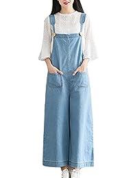 Mujer Chicas Peto Vaquero Mono Jeans Pantalones Anchos Largo Casual Elegante Fiesta Azul Claro S