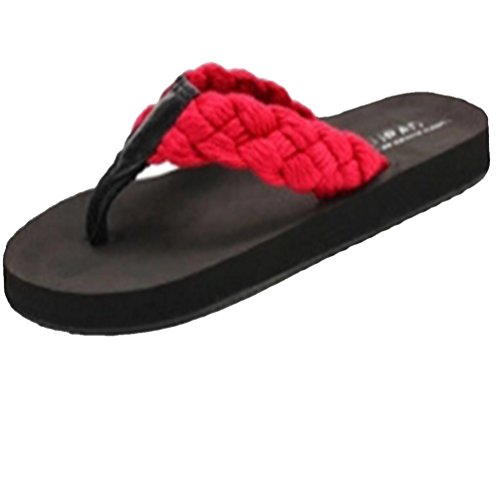 Baymate Hommes Tongs Anti Skid Bout Ouvert Sandales Plage Chaussons Rouge