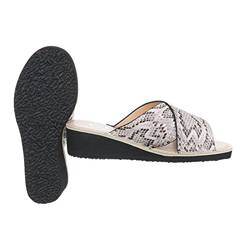 Pantoletten Damenschuhe Jazz & Modern Keilabsatz/ Wedge Keilabsatz Ital-Design Sandalen / Sandaletten Beige Multi