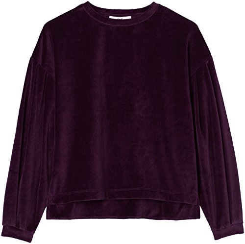 FIND Sweat-Shirt Velours Manches Bouffantes Femme Rouge (Burgundy)