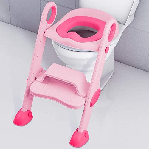Riduttore WC con Scaletta, NEARPOW Sedile Vasino con Scaletta Bambini Pieghevole e Regolabile in Altezza, con Cuscino Morbido e Antiscivolo, per 1-10 Anni Bambini