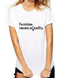 Feminismo Significa Igualdad Mujeres Hombres Camisetas de Manga Corta Camiseta