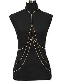 LUREME Collar de Cadena del Cuerpo del arnés de Cadena del Vientre del Tono del Oro de Las Mujeres de para la Fiesta de la Playa del Bikini del Verano (bc000035)