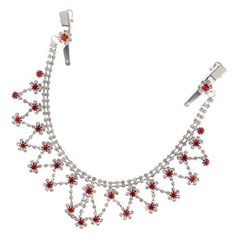 MagiDeal Elegante Quaste Haarkette Kristall Haarschmuck Kette Haarband Braut Diadem - Rot