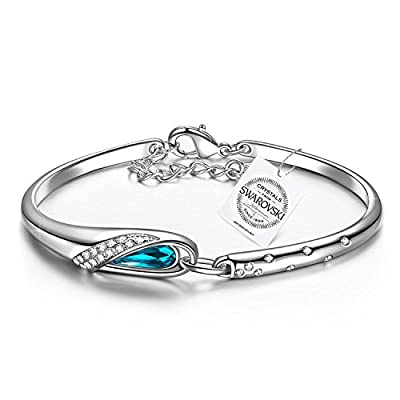 "Pauline & Morgen ""Cinderella"" Blue SWAROVSKI ELEMENTS Crystal White Gold Plated Bangle Women Bracelet, Birthday Valentines Mothers day Anniversary Wedding Gift Wife Mother Presents"
