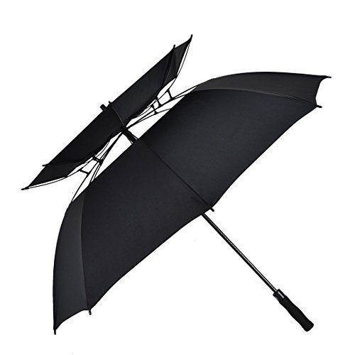 Preisvergleich Produktbild Atree Stick Umbrella,  Durable and Strong Enough for the Fierce Wind and Heavy Rain,  Unisex Golf Umbrella,  Color Black,  with Double-canopy,  8 Ribs by Atree