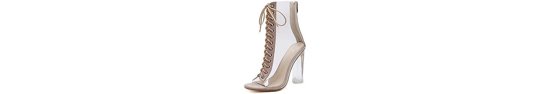 RTRY Zapatos De Mujer De Cuero De Pvc Primavera Otoño Comfort Novedad Botas De Moda Botas Bota Chunky Talón Peep... -