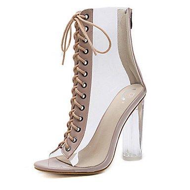 RTRY Scarpe Da Donna In Pelle Di Pvc Molla Rientrano Comfort Novità Moda Stivali Stivali Bootie Chunky Heel Peep Toe Stivaletti/Stivaletti Lace-Up Per US9.5-10 / EU41 / UK7.5-8 / CN42