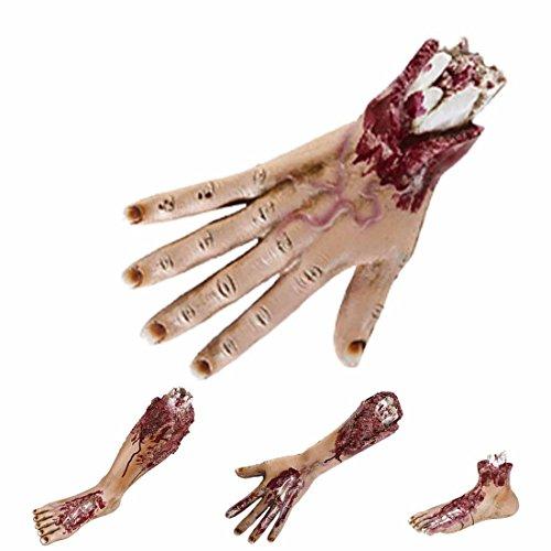 Abgetrennte Gliedmaßen Verstümmelte blutige Hände Hand Abgehackte Hand Halloween Körperteile Halloweendekoration gruselig Abgerissenes Körperteil mit Wunden Horror Stumpf mit Fleischwunden