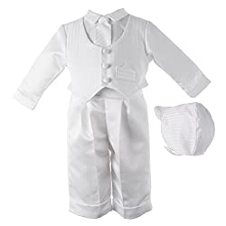 Lauren Madison baby boy Christening Baptism Infant Satin Vest Set with Pant, White, 24 Months