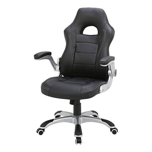 EUGAD BS09sz-1 Racing Bürostuhl Schreibtischstuhl Chefsessel Gaming Stuhl Computerstuhl Racing Sportsitz Drehstuhl stufenlose Höhenverstellung, Sitzbezug aus PU Leder, gut gepolstert, Schwarz