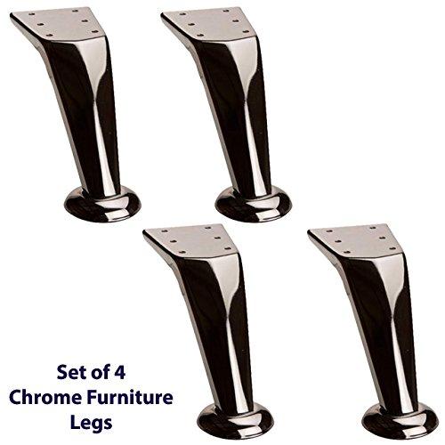 4 x muebles patas de METAL cromado pies redondos para sofás, sillas, taburetes, gabinetes, unidades (plata) ...