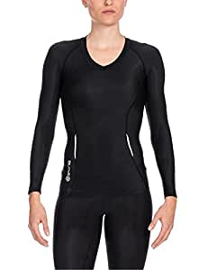 Skins A200 Long Sleeve Women's Compression Top - Black/Black, XS