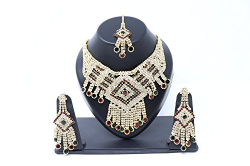 Crown Inglis Lady Ultra Traditional Immitation Jewellery Gold American Diamond Plated Golden Brass Earrings Drop Earring Imitation Stone Mangalsutra Necklace Set Black Bead Chain for Women