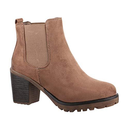 Elara Damen Stiefelette | Bequeme Ankle Boots | Chunkyrayan Neue-KA523-1sl Khaki-40 -