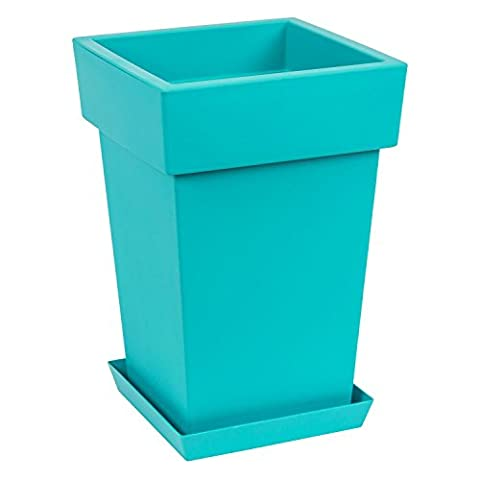Original Lofly Square turquoise flowerpot with saucer, 44 cm of height