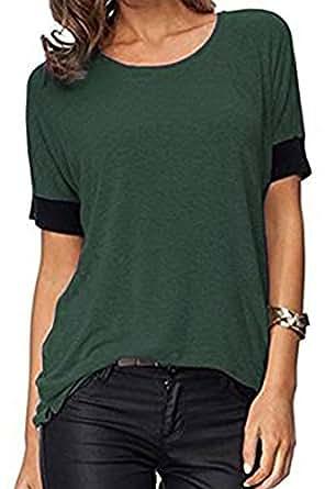 ELFIN® Frauen Damen T-Shirt Rundhals Kurzarm Ladies Sommer Casual Oberteil Locker Bluse Tops - weiches Material - sehr angenehm zu tragen (SV6PO6JR)