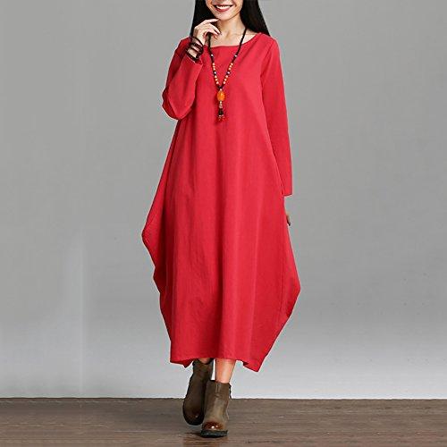YAN Frauen-beiläufiges loses Kleid-feste lange Hülsen-Baumwollleinen-asymetrisches Boho Midi langes Kleid-Partei, Strand, tägliches beiläufiges, zu Hause (Farbe : Rot, Größe : XL)