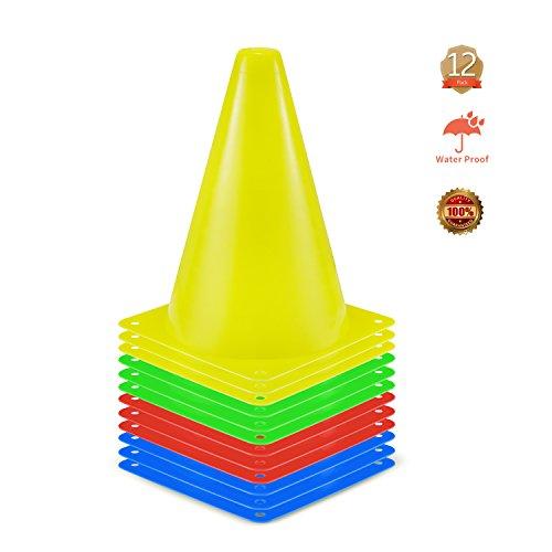 12 Stück Markierkegel Fußball Markierungskegel Trainingshilfen Multifunktionskegel 4 Farben für Kinder, Fußball, Sport, Reitsport & Hund Training (23cm)