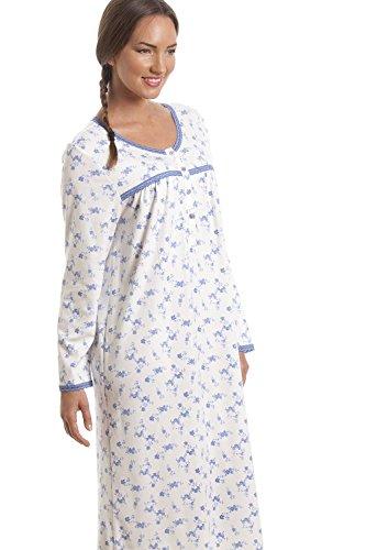 Nachthemd im klassischen Stil Langärmelig Weiß mit blauem Blümchenmuster  Blau