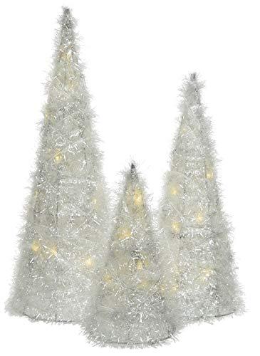 Kaemingk dekorative LED- Leuchtpyramide als Kleiner 3-er Satz nur für innen mit weiß-transparentem Plüschglitzer 20, 30 und 40 cm hoch