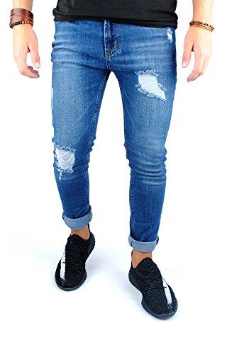 FiveSix Herren Slim-Fit Used-Look Denim Destroyed-Look Zerrissen Löcher Bikerjeans Skinny Jeans Hose mit Stretch Blau EU 29/32