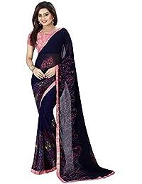 Navy Blue Georgette Saree ( Women Party Wear Latest Design New Collection Cotton Silk Sarees Offer Designer Saree...