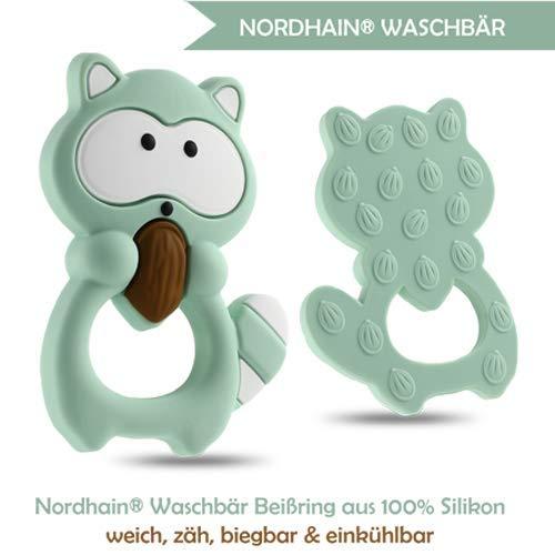 Nordhain Waschbär Beißring Mint für Babys aus hochwertigem Silikon - unterstützender Spielkamerad & Freund deines Babys in zahnender Zeit
