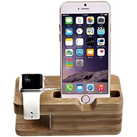 TROND - Soporte con base de carga para Apple Watch/Sport/Edition y iPhone 5/5C/5s/6/6Plus (madera de bambú, para Watch de 38 y 42