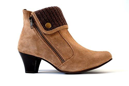 Damen Stiefeletten Echtes Wildleder | Ankle Boots Leder Braun High Heels (38) (Wildleder Boot Leder)