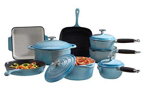 Price comparison product image Cooks Professional Deluxe Cast Iron Heavy Gauge Cookware Complete 8 Piece Cooking Set. (Blue)