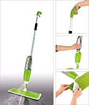 TOKU Stainless Steel Microfiber Floor Cleaning Healthy Spray Mop with Washable Cleaning Pad, Green (46 x 15 x