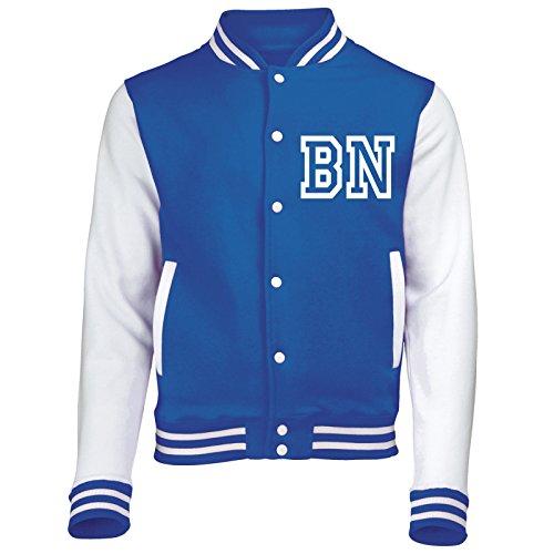 Varsity Jacke mit Front Initiale Individualisierung (Royal Blau/Weiß) von '123T Mugs Gr. XXL, Royal Blue/White Blau Weiß Mugs
