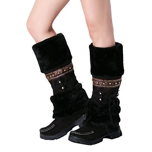 TianWlio Stiefel Frauen Herbst Winter Schuhe Stiefeletten Boots Wildleder Haarballen Runde Zehe Platz Absatz Schuhe Halten Warme Schlüpfen Schnee Stiefel Schwarz 39