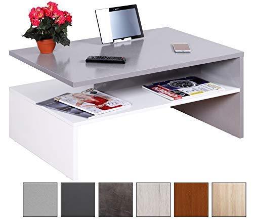 RICOO Couchtisch mit Stauraum WM080-W-PL TV Wohnzimmertisch Kaffeetisch Beistelltisch Wohnzimmer Couch Tisch Klein...