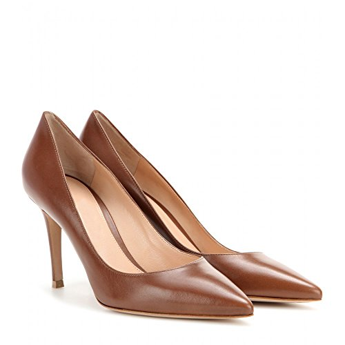EDEFS Damen High Heels Klassische Pumps Geschlossene Spitze Zehen Übergröße Schuhe 8cm Absatz Braun