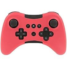 Suave silicona funda piel funda Sleeve for Nintendo Wii U Pro WiiU mando inalámbrico rojo
