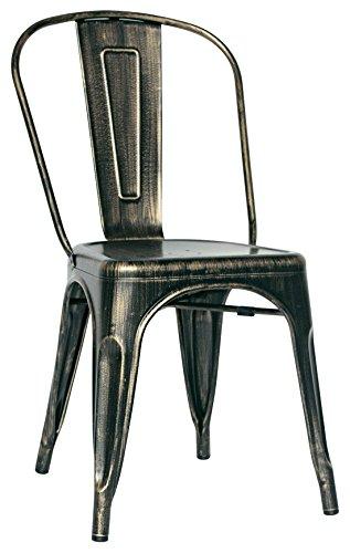 Brianza Outlet Old Sedia di Design, Stile Industriale, Metallo, Anticato, 36 x 36 x 45 cm