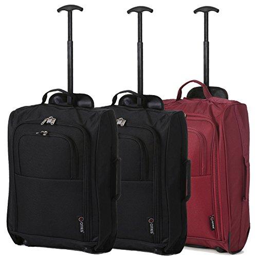 """Set of 3 21""""/55cm 5 Cities Kabine zugelassenes Handgepäck Leichte Trolley-Taschen Für Ryanair / Easyjet (Schwarz) Schwarz x 2 / Wein"""