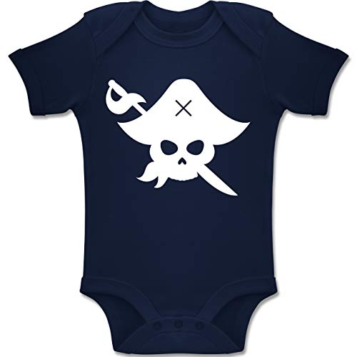 Shirtracer Karneval und Fasching Baby - Pirat Kostüm Fasching - 3-6 Monate - Navy Blau - BZ10 - Baby Body Kurzarm Jungen Mädchen (Baby Kostüm Piraten 3-6 Monate)