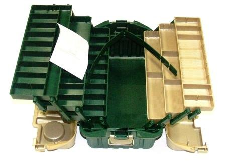 Plano Hip Roof Tackle Box w/6-Trays - Green/Sandstone -