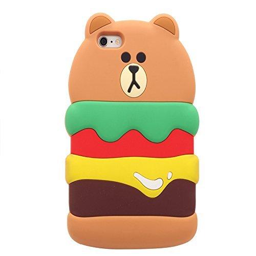 Kreatives Weihnachtsgeschenk iPhone 6 6S 3D Hülle Handyhülle, Silikon Cartoon-Case Cover Schutzhülle, Backcover Handy-Tasche Bumper 3D Spielzeug Etui für Apple iPhone XMAS Gift 6/6s (Santa Elk) Burger Bär