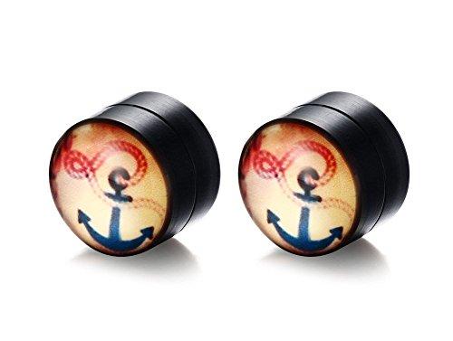 Vnox Herren Edelstahl Anker Emaille Keine Piercing Clip auf Doppel Magnet Ohrringe -