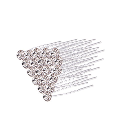 20PCS Clear Crystal Hair Clip Rhinestone Diamante Wedding Bridal Prom Hair Styling Accessories Hair Pins